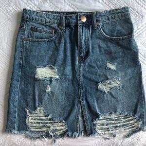 Fashion Nova denim distressed skirt